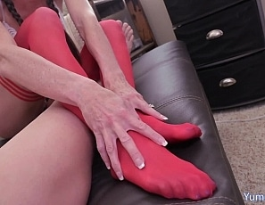 SofieMarieXXX/Red Stocking Hand and Foot Job